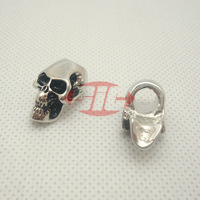 (10pcs, Chrome) Charm Metal Skulls For 550 Paracord Bracelets Knife Lanyards Accessories with 6mm Single Vertical Hole
