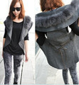 2013 New Fashion Winter Fur Collar Women Woolen Shawl Vest Jacket Free Shipping(China (Mainland))