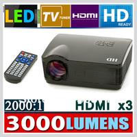GR Stock ! 3D projector 3*HDMI USB LED Multimedia Home Theater HDMI Projector 1080P Beamer 2000:1 LED projection Projector