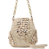 Vintage Women Rivet Button Shoulder Bag Fashion Tassel Handbag Leather Satchel Messenger Bag Studded Backpack Bolsas Sac A110