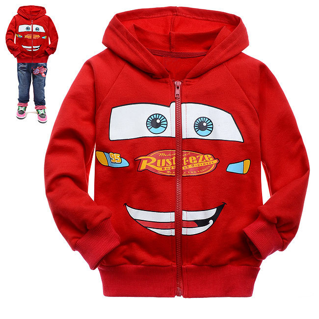 Free Shipping Boy's cartoon Hoodies Long Sleeve, red cars printing of Cotton Terry front pocket zipper jacket with hat(China (Mainland))