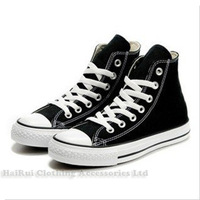 New Arrival Black Colour branded canvas shoes unisex tall style Sneaker EU35-44 retail/wholesale free shipping 06