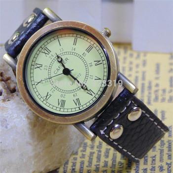 Hot Sell !Europe New Retro Luxury Leisure Woman Bracelet Wristwatch,Ultra-Thin Casual Fashion Men & Women Leather Quartz Watches