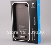 2PCS/LOT 1900 mAh For iPhone 4 Battery External Battery for iPhone 4G 4S Charger Case with Retail Box