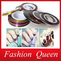 Hot Sale 20Designs Striping Tape Metallic Yarn Line Nail Art Stickers Decoration,3d Creative DIY Nail Accessories, Nail Tools