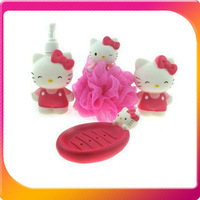 (Free Shipping CPAM)  4PCS/SET New Hello Kitty Bathroom Set,Bath Ball+Soapbox+Bath Bottle+Toothbrush Holder H-088A