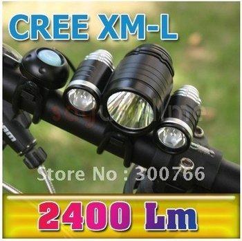 1Set 1800 Lumens CREE XM-L T6 LED+ 2* XP-E R2 LED Bicycle Light 3 Modes Bike Front Light+8.4V 6400mAh Battery Pack+Charger
