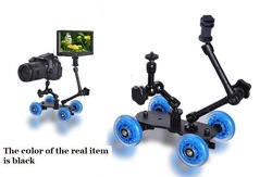 3in1 Premium Black Mini Desktop Rail Car Video Slider Dolly Car for dslr Camera Monitor +11'' 7'' Magic Arms Free Ship w/Track(China (Mainland))