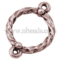 Alloy Links,  Lead Free and Cadmium Free,  Ring,  Red Copper,  16x16x2mm,  Hole: 1.5mm