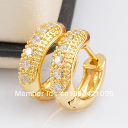 24K 24CT Yellow Gold Plated Created Diamonds Trendy Women Ladies Hoop Earrings(China (Mainland))