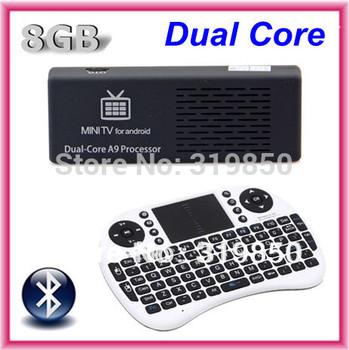 Bluetooth MK808B Dual Core RK3066 Cortex-A9 Mini PC Android 4.2.2 TV BOX Android Wifi +2.4G Wireless Keyboard Rii i8