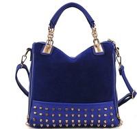 2014 Casual  Bag Rivet Package Stitching Flannel Bag Shoulder Bag Handbag Drop Shop