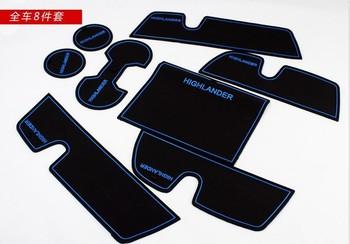 Free shipping Car Door Mat Cup Mat Door Tank Pad non slip anti slip mat 8pcs blue for Toyota Highlander 2009 2010 2011 2012