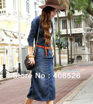 Blue Europe Women's Retro Denim Jean 1/2 Sleeve Long Maxi Dress With Waistband Free shipping 9333