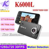 "K6000L Cheapest Car DVR Cam Video Recorder 1080P HD Black Box 2.7"" LCD G-Sensor HD720P 30fps SG Post Free Shipping"