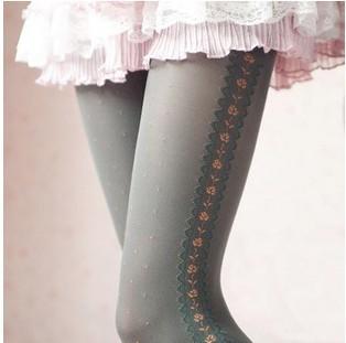 On Sale free shipping girl's velvet stockings side jacquard spring autumn winter thick stockings wholesale