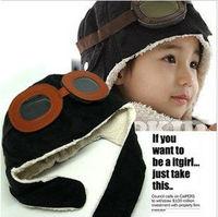 1X Promotional NEW 2014Children Hats Boys Girls Flight Caps Kids Winter Warm Hats Earflap Cap Beanie Pilot Free Shipping