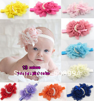 13colors NEW Baby Girls chiffon Headband for Photography props rose pearl flower Headbands infant hair accessory