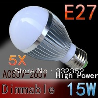 5pcs/lot FREE SHIPPING Dimmable Bubble Ball Bulb 15W E27 High power Globe light LED Light Bulbs Lamp Lighting