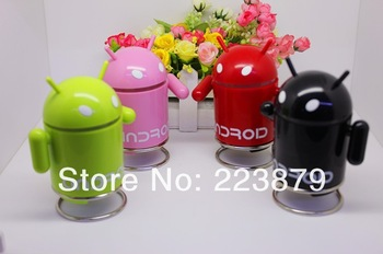 Free Shipping Android Robot Portable Mini Music Speaker for MP3/U Disk Computer Subwoofer Whole Sale