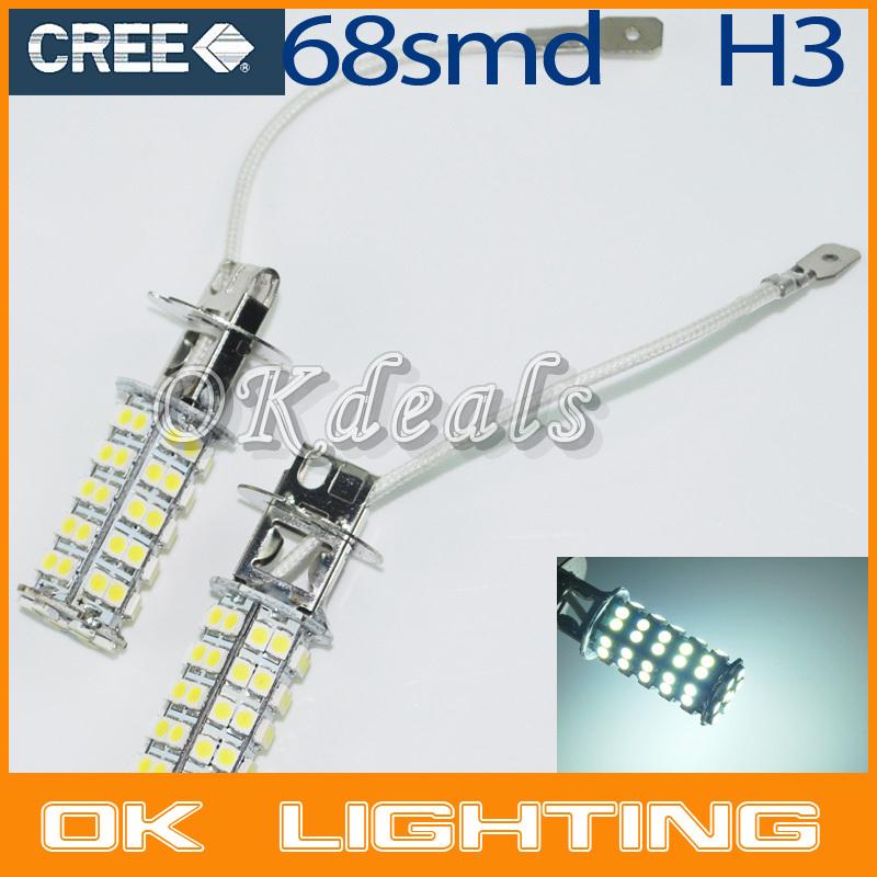Free Shipping 2PCS H3 68 SMD DC12V 4.5W Car Auto Fog Head Parking Signal Headlight LED Lamp Bulb(China (Mainland))