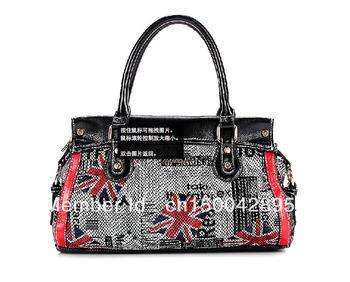 Free shipping new fashion 2013 women genuine leather purses japanned tote shoulder handbag british style vintage london flag