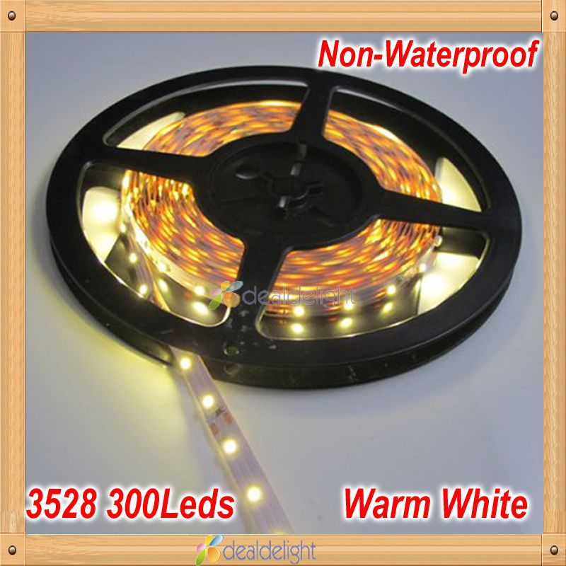 Freeshipping! DC12V 5M/Lot SMD 3528 300 Leds Non-Waterproof Flexibleing LED Strip Light Warm White color(China (Mainland))