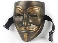 High-grade Delicate Resin V for Vendetta Anonymous Guy Fawkes Mask Halloween cosplay Collection  Bronze