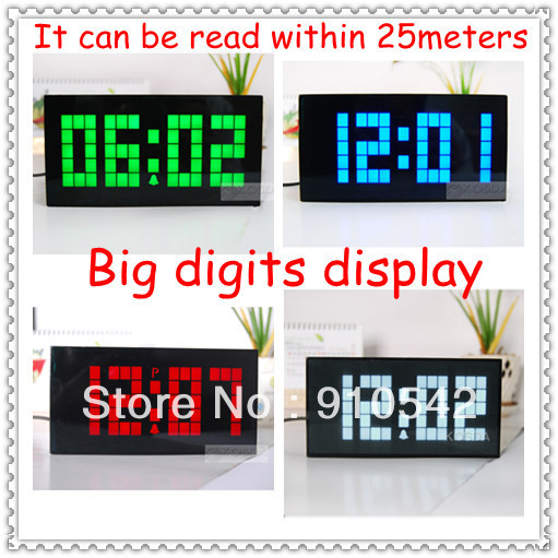 Free Shipping 2013 Latest LED Digital Large Jumbo Wall Alarm Light Calendar Temperature Snooze Big Clocks Display(China (Mainland))