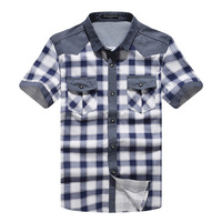 Free shipping, we best, 2013 new arrival men's fashion casual  short sleeve plaid shirts, 3 colors, Drop shipping. MCS010