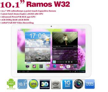 Free shipping!1GB RAM 16GB ROM IPS 1280x800 android 4.0 bluetooth 10.1inch Ramos W32 tablet Intel Atom Z2460 1.6GHz WIFI OTG