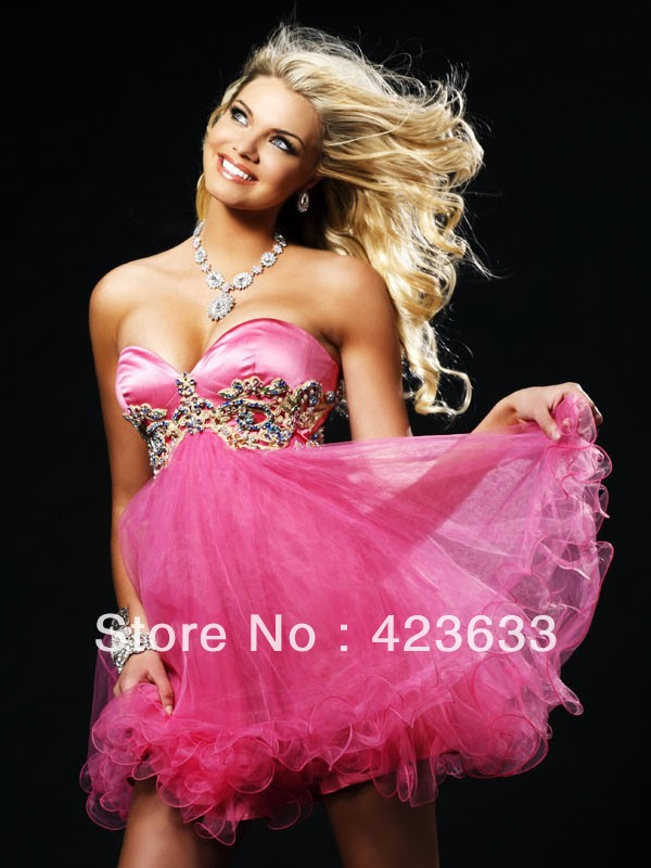 Amazing Beaded Sweetheart Ball gown/ Pink Homecoming dresses/Sexy Cocktail dresses/Mini/Short prom dresses(China (Mainland))