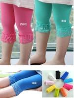 12 pcs/lot baby girl velvet lace legging kids candy color leggings  cute dress legging girls summer fashion