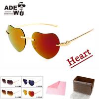 Free Shipping Heart Shape Sunglasses Women Rimless Frame Sun Glasses With Metal Leg Party gafas de sol Female