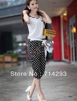New Korean Fashion Women's Casual Dot Pattern Splicing Sleeveless Jumpsuit Romper free shipping 13776