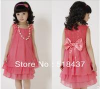 dress girls sleeveless chiffon lace dress+pearl necklace girl's bowknot dress children summer clothes princess red dress