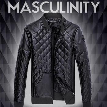 HOT Men's Motorcycle PU Leather Jacket Men Black Jackets Outdoor Fashion Splice Plaid Mens Jackets And Coats Plus Size M- 5XL