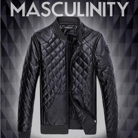 HOT Men's Motorcycle PU Leather Jacket Men Black Jackets Outdoor Fashion Splice Plaid Mens Jackets And Coats Plus Size M- 5XL
