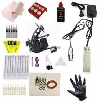 Cheap beginner Complete Tattoo Kit G style Machine Black Ink combine Power Pedal Needles Grip