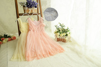 summer New design  Korean High grade girls sleeveless lace pearl Hook Subtle sweet dress,fairy 2 colors,5 pcs/lot beautiful