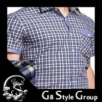 Free Shipping New Fashion 2013 Men' S Short Shirts Big Size Men Shirt  Men 's Clothes 100% Cotton Plaid Grid Striped Shirts