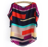 FREE SHIPPING 2012 New Fashion Multicolour Stripe Pullover Loose Short Sleeve Chiffon Shirt/ Brand Blouse Free Shipping