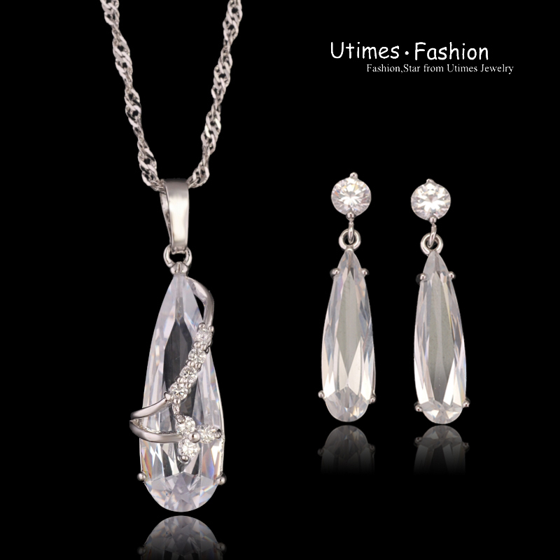 Trendy Clear Stone Sets Jewelry Woman White Gold Plated(China (Mainland))