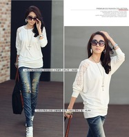 2013 New Fashion Women's Batwing Top Dolman Lace Loose Long Sleeve T-Shirt Blouse Black White M-L free shipping  M1010