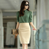 Free shipping women skirt with high waist knee-length skinny cotton pencil  fashion sexy one-step european style wholesale C031