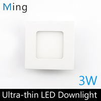 Ultra thin design 3W LED ceiling recessed grid downlight / square panel light 90mm, 1pc/lot free shipping