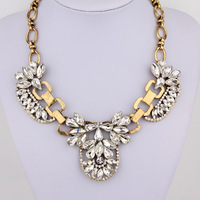 Vintage Chunky Gold Plated Clear Crystal Carving Mix Statement bib Collar Choker Necklace For Women Dress Jewelry Item,AF945
