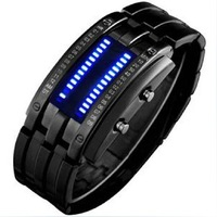 Luxury LED Watch Stainless Steel fashion men watch binary watch with gift box for men free shipping ML0054