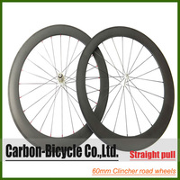 Straight pull 60mm clincher bicycle wheels 700c carbon fiber road bicycle racing wheelset