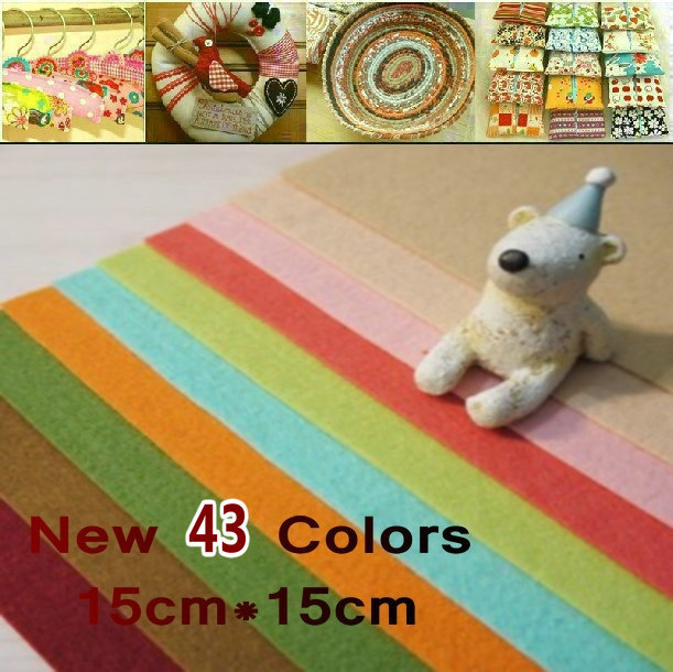 FREE SHIPPING 43Colors/Lot,15CM*15CM, Polyester Felt Fabric Packs,1MM Thick wool felt Non-Woven Fabric(China (Mainland))